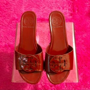 Tory Burch Patti Red Patent Leather Wedge Slides